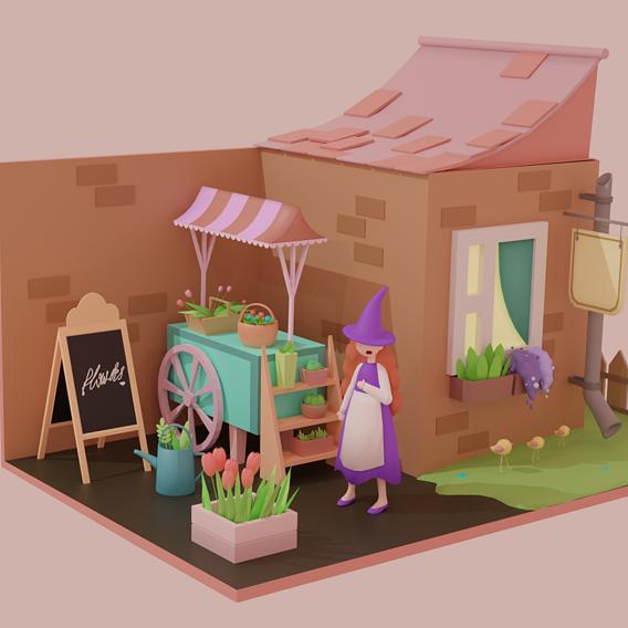 cute flower shop interior scene