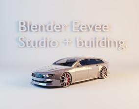 3D asset Blender Eevee studio and building