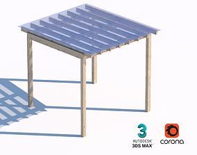 3D asset wooden sunshade summerhouse with transparent
