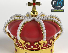 3D Imperial crown with orb and cross