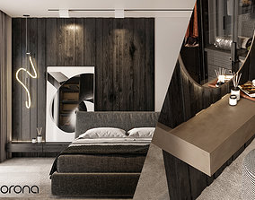 Master Bedroom Dark Color Scene 3D Models