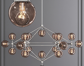 Modo 6 Sided Chandelier 21 Globes Nickel and 3D model 2