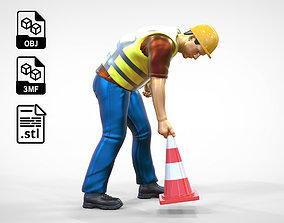 3D printable model N3 Road Worker Placing Traffic Cone
