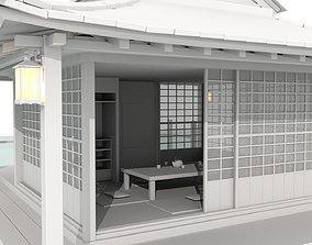 3D asset Japan House with a boat