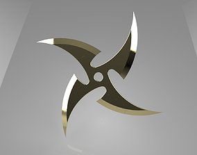 3D print model Ninja Star 4 blades One sided sharpening