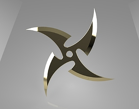 3D print model Ninja Star 4 blades One sided sharpening