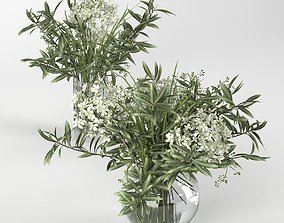 Bouquet of hydrangea olive branch and eucalyptus 3D