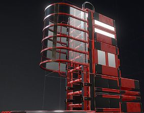 Futuristic Ladders Red Painted Metal 3D model
