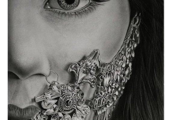 Sketching Portrait with jewelery