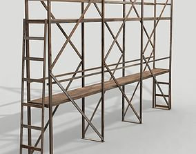Scaffolding 01 from wood 3D asset low-poly
