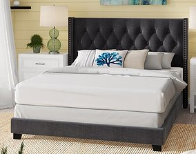 3D Charcoal Gray Anner Tufted Upholstered Standard Bed