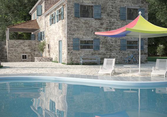 Croatian traditional stone house with pool scene