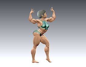 Bodybuilder girl in a beautiful pose 3D print