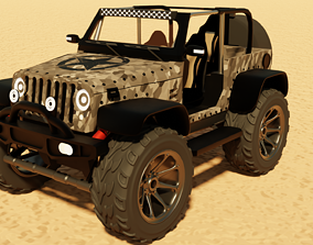 Military Jeep 3D model rigged