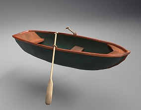 3D model Rowboat with Oars -Classy Green