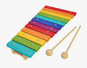 Xylophone musical toy 3D