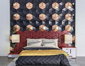 Bed Golden Black set 3D