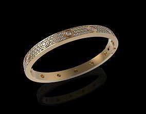 Bracelet Diamond Paved Yellow Gold 3D printable model