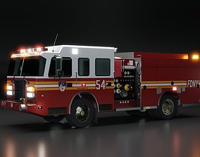 3D model American Fire Engine Pumper low poly version