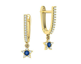 Hanging star Earrings 3d model