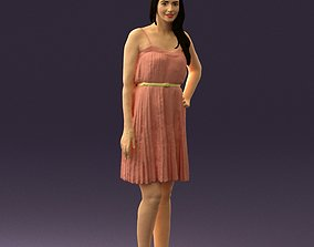 3D print model Woman in pink dress 0441