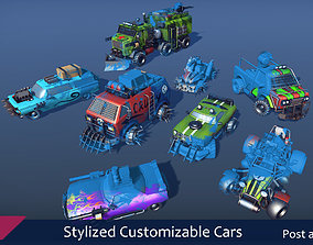 3D asset Stylized Customizable Cars post apo v3