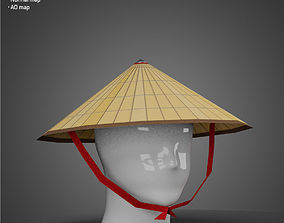 3D asset game-ready Chinese Rice Hat - Low Poly model
