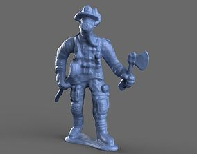 fires 3D Fire Fighter with Crowbar Toy Miniature