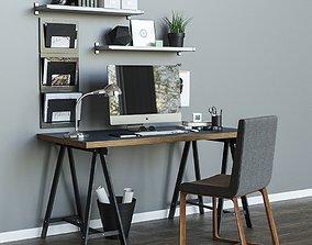 Workplace table ikea LINNMON ODVALD 3D