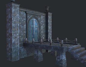 Cage with walls bridge and columns 3D model