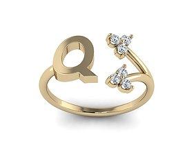 3D printable model Jewelry Alphabet Ring Q with Diamonds