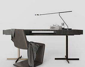 Minotti Phillips chair and Close Writing Desk 3D