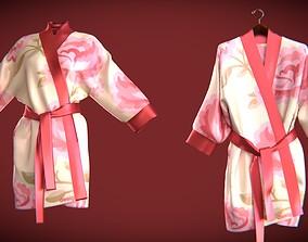3D silk bath robe