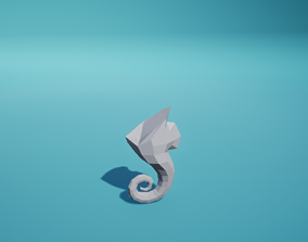 Statue Seahorse Ruined 3D model