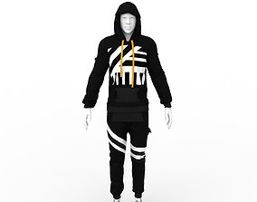 Off White style Hoodie and Sweat Pants - 3D asset 2