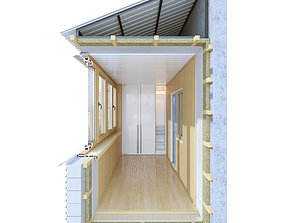Balcony - Loggia in section 3D model