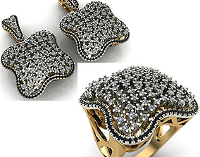 WOMAN SET RING AND EARRINGS 3D model