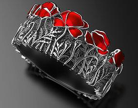 Turn gray to bright Poppies enamel ring 3D print model