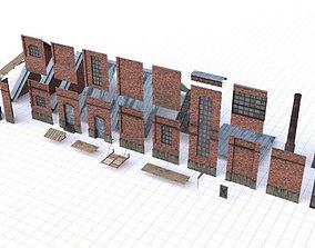 Modular Old Industrial Building Asset 3D model