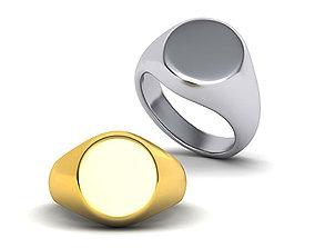 Men Oval Signet ring 3d model Oval top