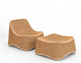 seagrass Chill Lounge Chair and Stool Exterior 3D