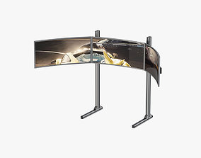 Triple Monitor Mount and Screen 3D model