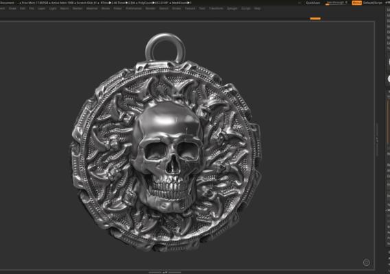 Skull Pendant 3d print model