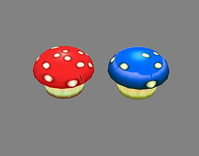 Cartoon poisonous mushroom 3D model low-poly