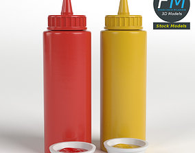 Ketchup and mustard bottles 3D