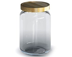 3D model Glass Jar With Wooden Lid