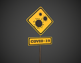 3D asset Covid-19 Danger Sign