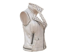 3D asset Sleeveless White Leather Jacket