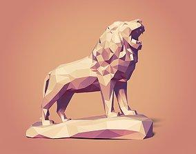 Low Poly Lion Statue Ready for 3D 3D model