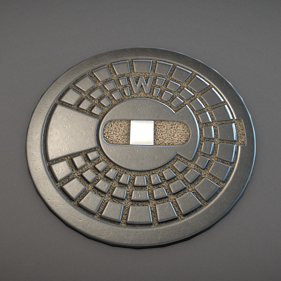 Sewer Cover 3 Hydrant - Clean Low-Poly Version (Blender-2.91 Eevee)